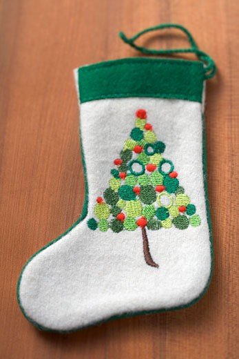 Embroidered felt boot for Christmas : Stock Photo