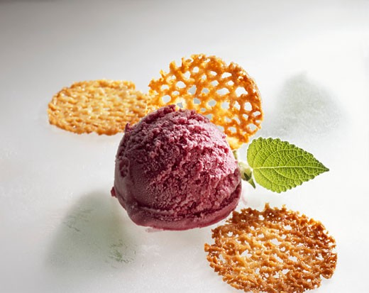 Stock Photo: 1532R-50123 Elderberry quark ice cream and almond brittle