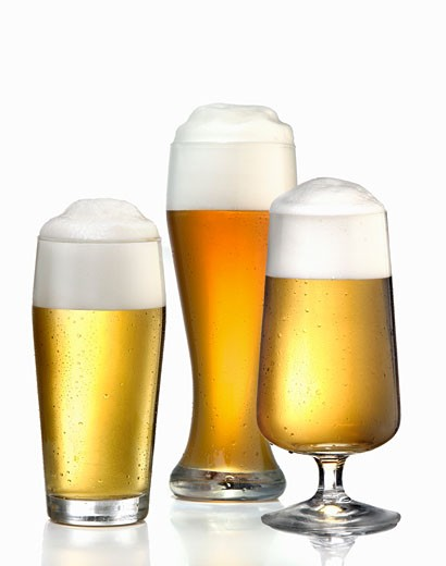 Three different glasses of beer : Stock Photo