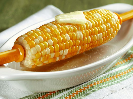 Corn on the Cob with Butter and Salt : Stock Photo