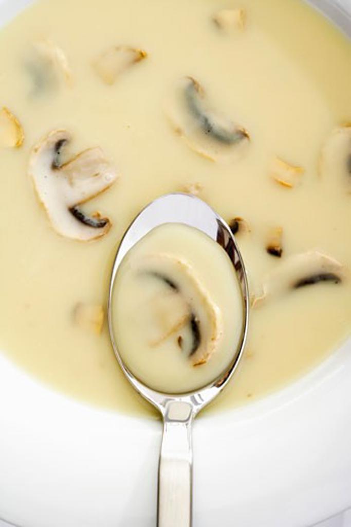 Cream of mushroom soup (detail) : Stock Photo