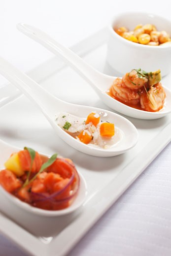 Three Spoonfuls of Seafood Appetizers : Stock Photo