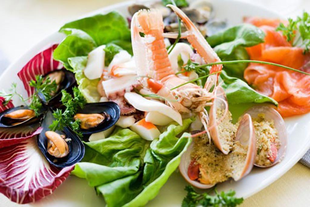 Antipasti of assorted seafood : Stock Photo