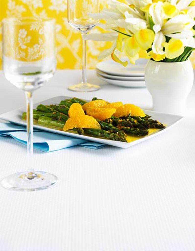 Stock Photo: 1532R-52051 Asparagus and orange salad on a platter
