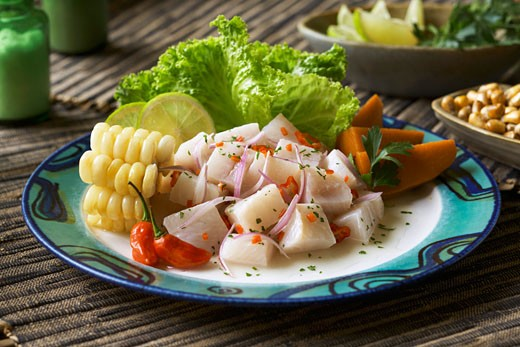Stock Photo: 1532R-52129 Ceviche with Corn and Sliced Yams