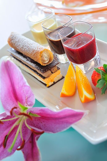 Chocolate and mousse confection with various fruit sauces : Stock Photo