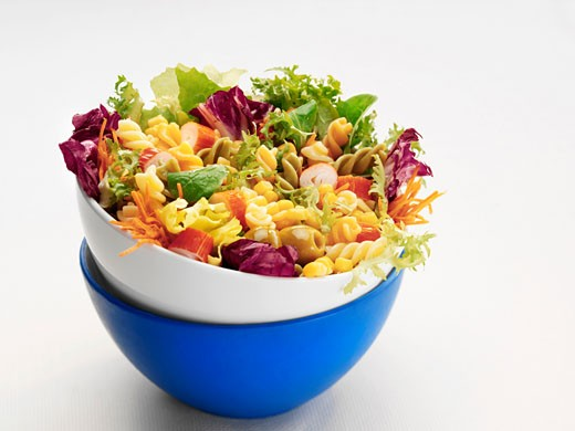Pasta, vegetable and sweetcorn salad : Stock Photo
