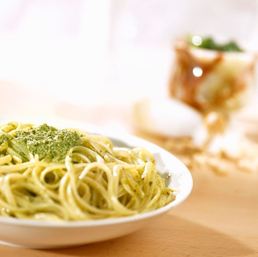 Trenette with pesto : Stock Photo