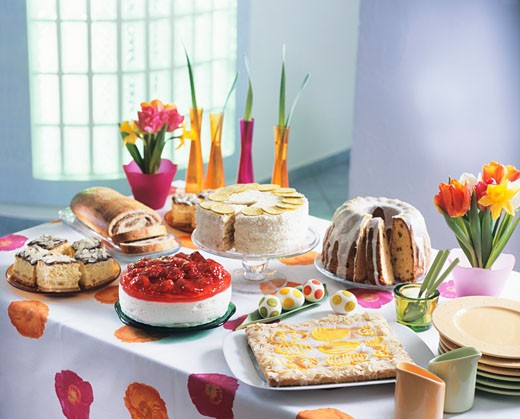 Easter cake buffet (Poland) : Stock Photo
