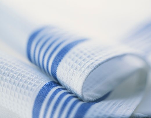 Blue and white tea towel : Stock Photo