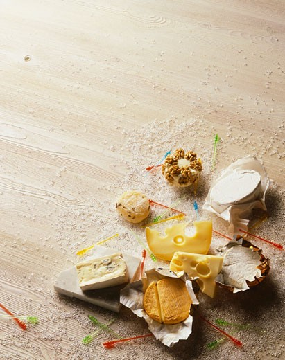 Stock Photo: 1532R-54384 Various cheeses for a party buffet