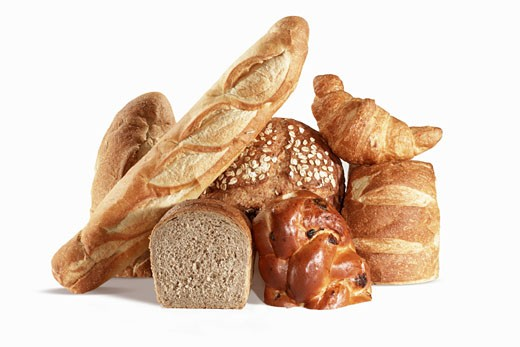 Stock Photo: 1532R-54726 Various Breads on Black Background