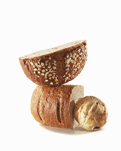 Three Assorted Breads on a White Background : Stock Photo