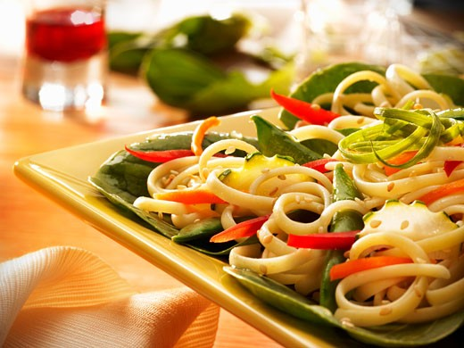 Stock Photo: 1532R-55247 Vegetable Stir Fry with Linguine and Sesame Sauce