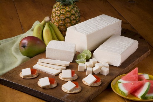 Blanco Cheese with Crackers and Watermelon : Stock Photo