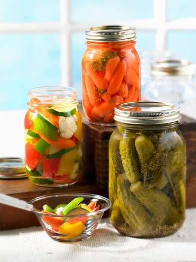 Various types of preserved vegetables : Stock Photo