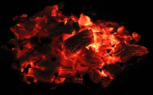 Charcoal embers : Stock Photo