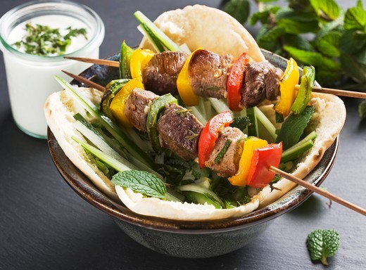 Lamb kebabs with pepper in pita bread : Stock Photo