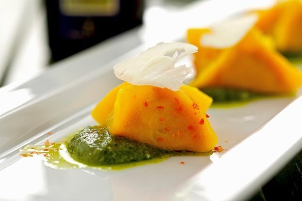 Ravioli with pesto : Stock Photo