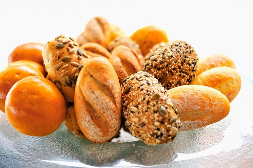 Various types of bread rolls : Stock Photo