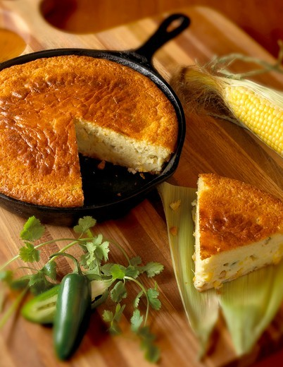 Skillet Jalapeno Cornbread with Slice Removed : Stock Photo