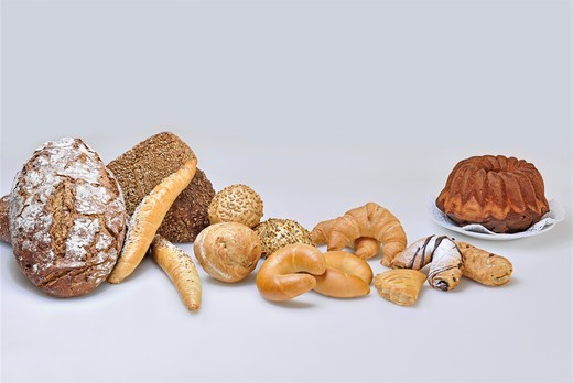 Various types of bread, rolls, cake and Bundt cake : Stock Photo