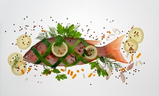 Rose bream: bream wrapped in salmon : Stock Photo