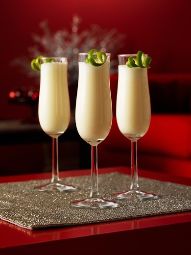 Stock Photo: 1532R-60490 Three glasses with Ramos Gin Fizz