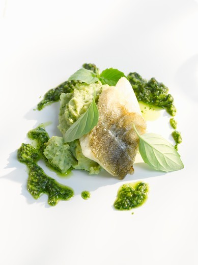Stock Photo: 1532R-60697 Fish fillet with pesto and pureed basil