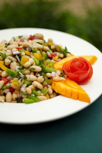 Stock Photo: 1532R-60944 Bowl of White Bean Salad with Papaya Garnish