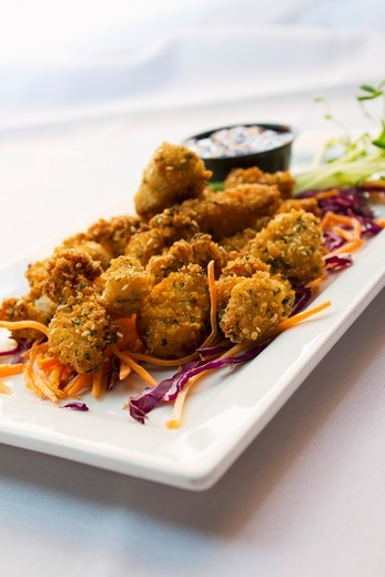 Stock Photo: 1532R-61014 Fried Shrimp Appetizer on a Plate with Shredded Carrots and Cabbage