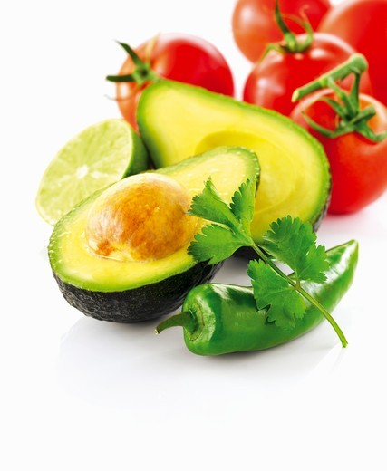 Stock Photo: 1532R-61397 Avocado, tomatoes and chili pepper