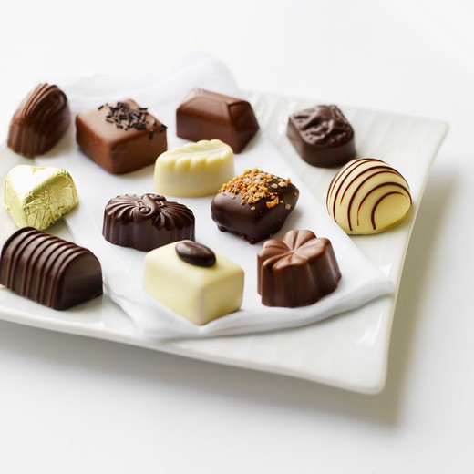 Various Belgium pralines : Stock Photo