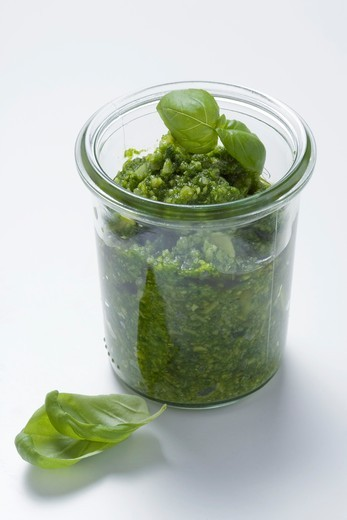 Pesto in a jar : Stock Photo