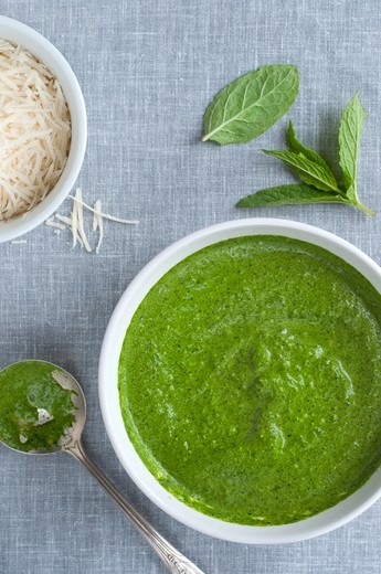 Freshly Made Spinach and Mint Pesto in a Bowl; From Above : Stock Photo