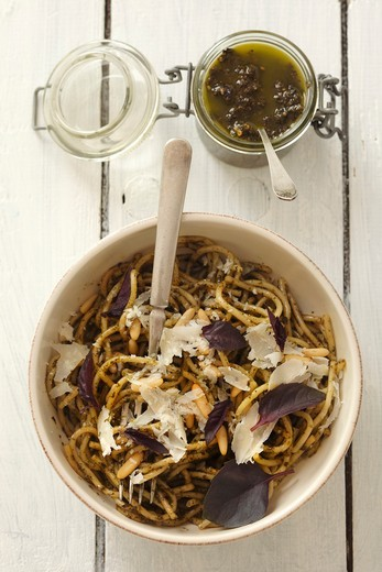 Stock Photo: 1532R-62977 Spaghetti with purple basil pesto and Parmesan cheese