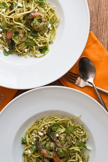 Stock Photo: 1532R-63989 Two Bowls of Linguine with Shrimp and Pesto; From Above