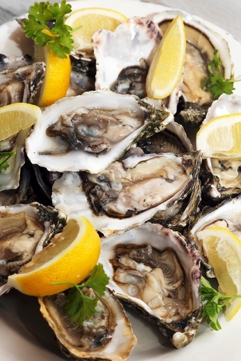 Stock Photo: 1532R-64069 Fresh Irish oysters with lemon wedges