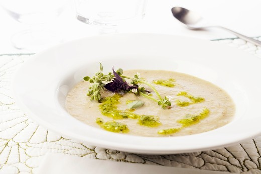 Bowl of Creamy Artichoke Soup with Pesto and Fresh Purple Basil and Lemon Basil : Stock Photo