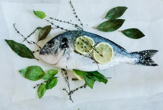 Fresh bream with salt, lemon slices and herbs : Stock Photo