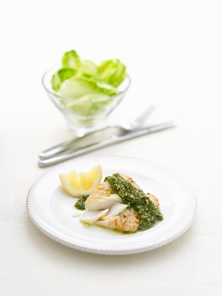 Cod with pesto and lemon : Stock Photo