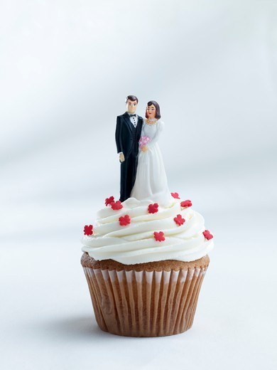 Stock Photo: 1532R-66135 A cupcake topped with a bride and groom