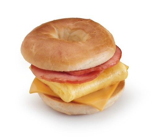 Ham, Egg and Cheese Breakfast Sandwich on a Bagel : Stock Photo