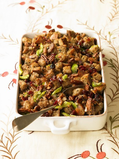 Pecan Cherry Stuffing in Baking Dish : Stock Photo