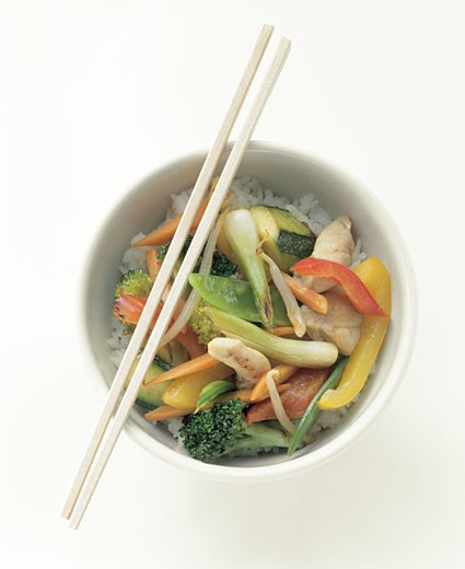 Chicken and Vegetable Stir Fry Over Rice : Stock Photo