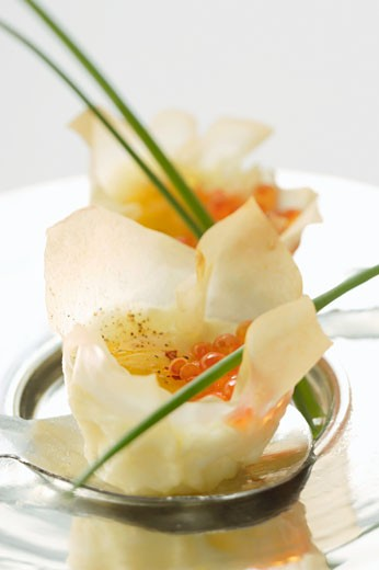 Filled won tons with trout caviare and fried quailÆs egg : Stock Photo