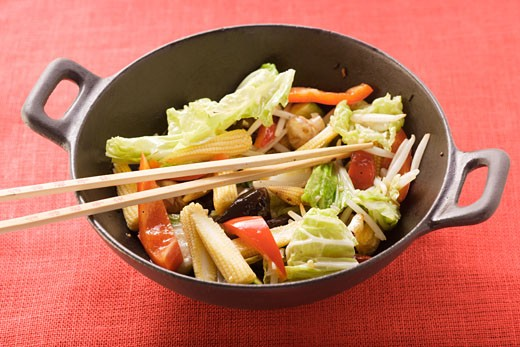 Ingredients for Asian vegetable dish in wok : Stock Photo