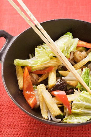 Stock Photo: 1532R-8781 Ingredients for Asian vegetable dish in wok