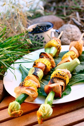 Stock Photo: 1532R-8964 Grilled turkey kebabs with sweetcorn & vegetables in open air
