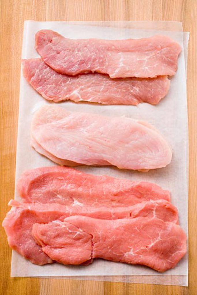 Pork, turkey and veal escalopes : Stock Photo